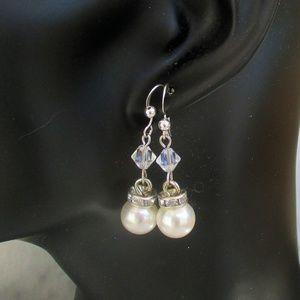 White Pearl Wedding Earrings